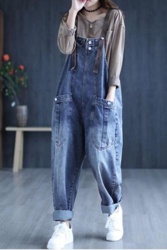 2021 summer Denim Women Jumpsuit Harem Pockets Loose Thin Female Casual Big Size Women Trousers YoYiKamomo