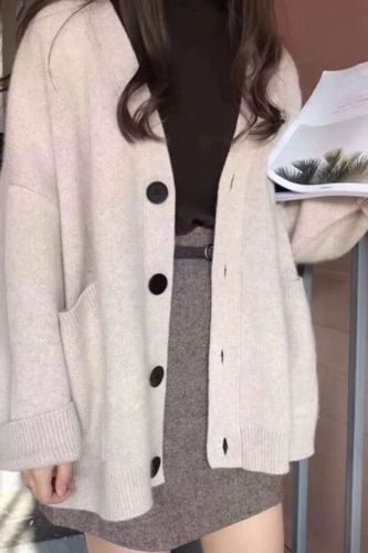 2021 Autumn Women Sweater Cardigans Casual Loose Solid Sweater Button Pocket Long Sleeve Knit Cardigans Women Tops Streetwear