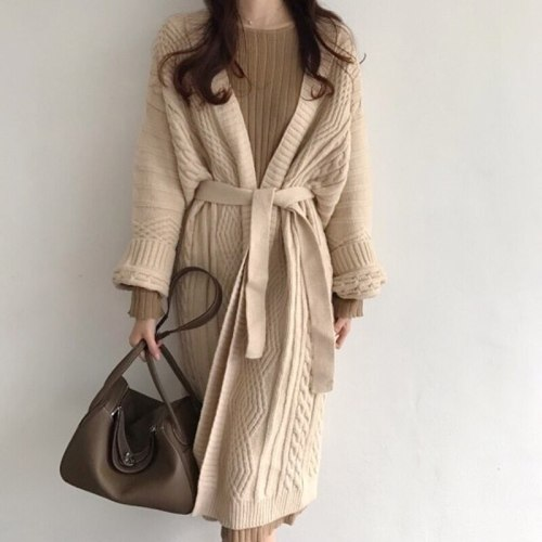 Korean Autumn Vintage Twist Pattern Cardigan Sweater Coat Women's Lace Up Warm Winter Knitted Outwear Chic Loose Casual Coat