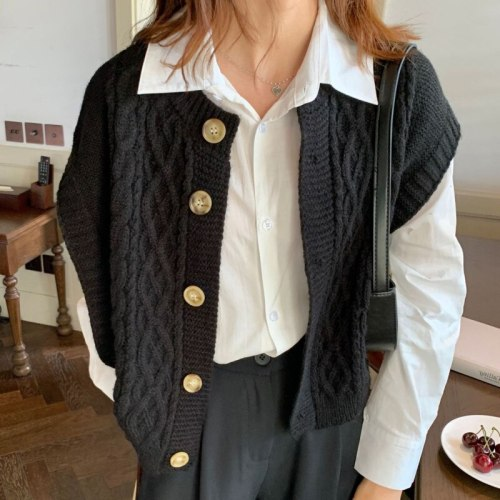 2021 New Spring And Autumn Fashion Casual Knitted Vest Coat Women's Cardigan Korean Short Waistcoat SL950