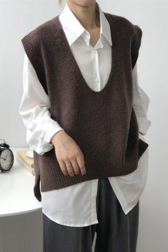 2021 Harajuku Spring Kintted Vest Women Sweater Casual V-Neck Vest Women Pullover Loose Vintage Sweater Veste Femme Cropped Tops