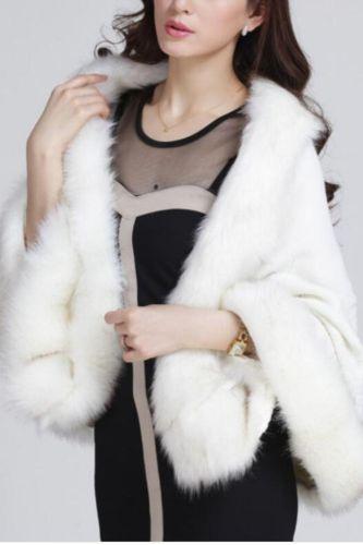 Fashion Elegant Fox Fur Cape Coat Women Winter Knit Cashmere Cloak Shawl Sexy Faux Fur Poncho Wraps Pashmina 12 Colors