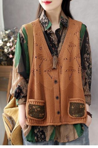Retro hollow Korean knitted vest female spring and summer fashion new style all-match single-breasted cardigan top Western style