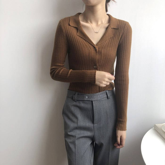 Women Textured Slim Knitted Cardigan Sweater Nortched Collar Cardigans 2021 Autumn