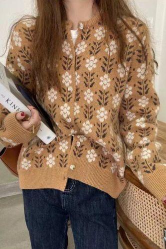 Flowers Cardigan Women Young Style Prairie Chic Knitted Sweater Raglan Sleeve Autumn Winter Elegent Cardigan Women Jumper Coat