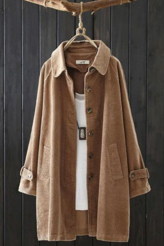 Fall 2021 new plus size corduroy long-sleeved women's mid-length loose corduroy retro literary cardigan jacket s576