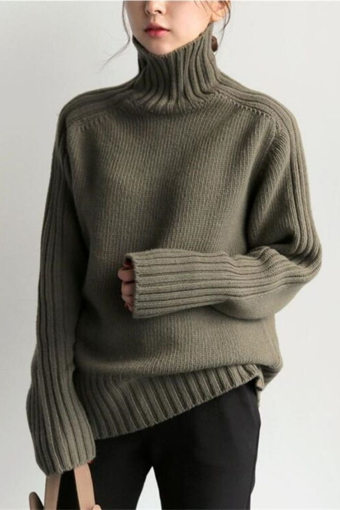 Bornladies 2021 Autumn Winter Loose Turtleneck Pullover Basic Warm Sweater for Women Korean Soft Kniited Solid Sweater Tops