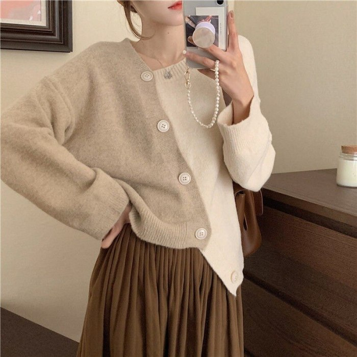 Korean Elegant Temperament Patchwork Cardigan Sweater V-neck Buttons Irregular Design Women Sweaters 2021 Fall All-match Ol Tops