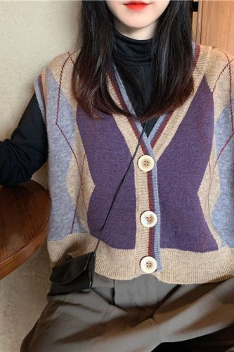 Women Spring Knitted Jacke Fashion Plaid Patterns Printed Sleeveless Single-Breasted Knitwear Female Student Preppy Style Jacket
