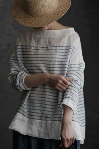 2021 Hot Sale Autumn Cotton And Linen Casual Ethnic Style T-Shirt All-Match Top