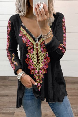 2021 Autumn Collection Women Clothing Tops Indie Folk Print Long Sleeve Sweatershirt