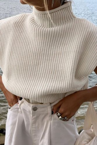 Turtleneck Sleeveless Women Vest Sweater 2021 White Shoulder pads Pullover Knitted Loose  Autumn Winter Casual Jumper