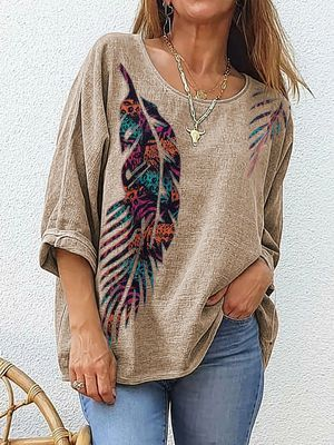 Loose Pullover All-Match Ethnic Style Printed T-Shirt