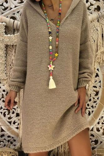 Sweater Dress Women Hooded Collar Long Sleeve V-neck Pure Color Knitted Pullover Spring Autumn Oversize Sweaters Pullovers