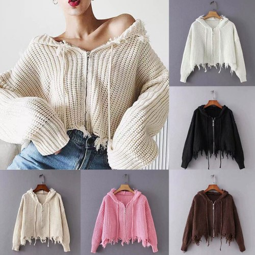 Women Zipper Sweater Coat Knitted Hooded Tassel Knitted Jacket Cardigan Sweater Fashion Solid Hole Street Clothing Soft Warm