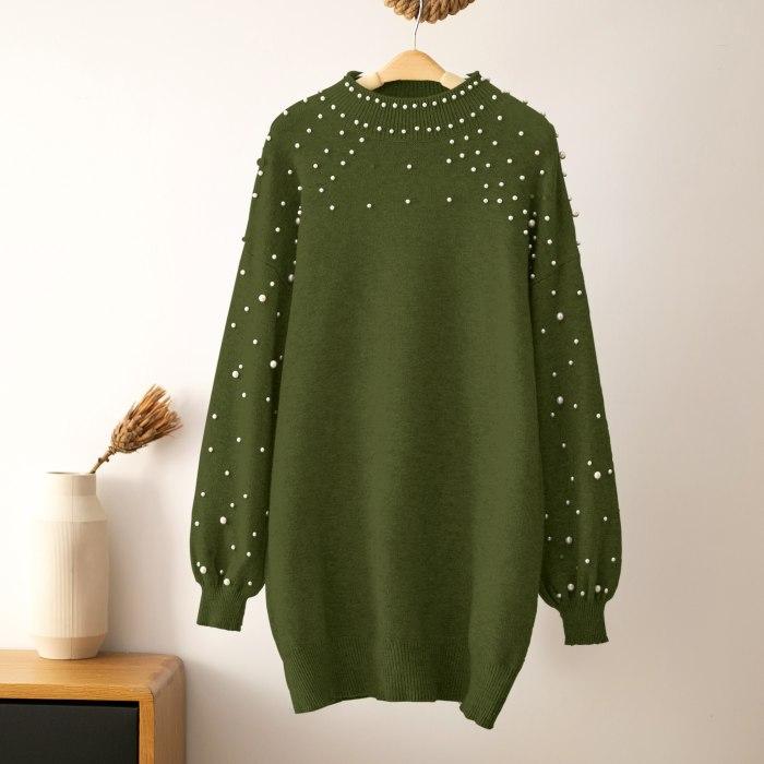 Autumn Winter Pearl Beadings Sweater Dress Women Long Lantern Sleeve Bodycon Dress Warm Plain Round Collar Knit Mini Dress
