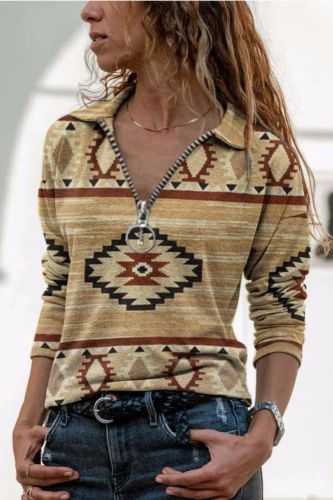 Western Ethnic Style Casual All-Match Printed Long-Sleeved T-Shirt Women Pullover Sweater