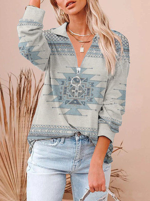 Autumn and winter western ethnic style long-sleeved all-match T-shirt women's pullover sweater Hoodies