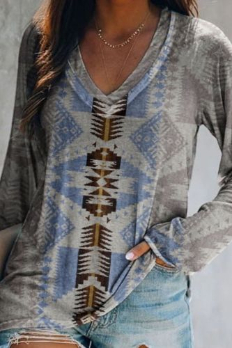 2021 summer Women's New collection Casual V-neck Indie Folk Style Geometric Print short-sleeve Loose Tee T-shirt