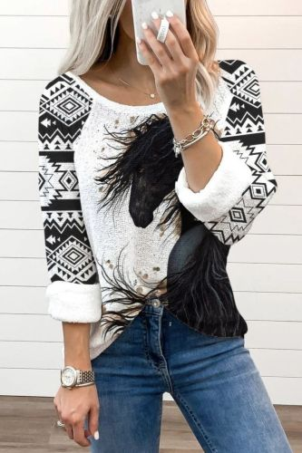 2021 Autumn Collection Women Clothing Tops Indie Folk Leaves Print O-Neck Sweatershirt
