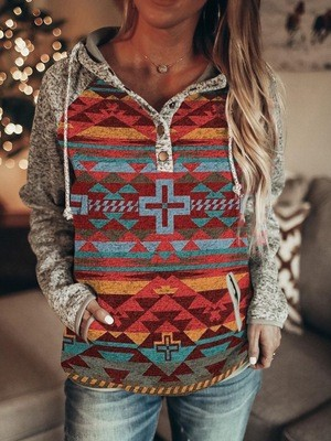 2021 Ethnic Style Autumn And Winter Print Pullover Long-Sleeved All-Match Small Sweater Hoodies