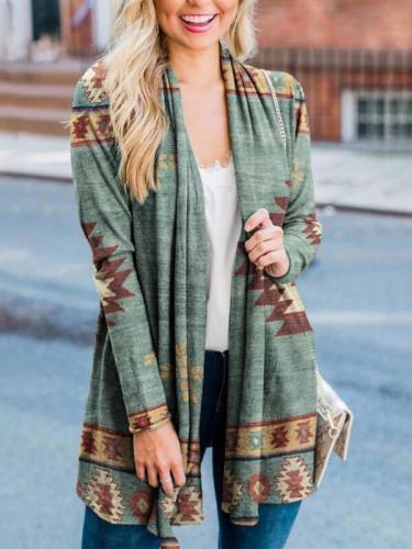 2021 Spring Autumn Women Clothing Overcoat Indie Folk Print Open Placket Coat