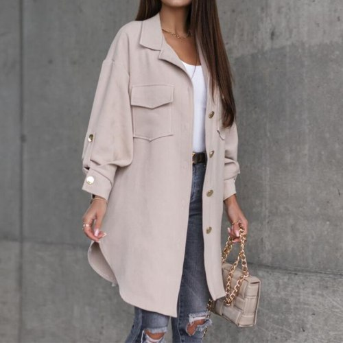 Autumn Winter Long Jacket Outerwear Office Lady Adjusted Long Sleeve Solid Shirt Coat Women Casual Single-Breasted Cardigan Tops
