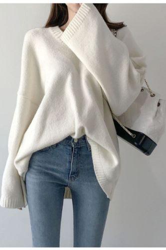 New 2021 Autumn Winter Women's Sweaters Pullover V-Neck Oversize Elegant Minimalist Korean Knitted Lady Jumper SW1186