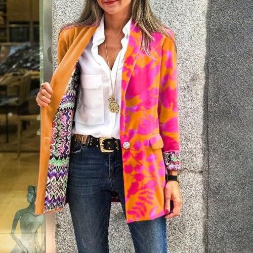 Fashion Double-Sided Print Women Blazer Coat Autumn Casual Long Sleeve Loose Jacket Elegant Single-breasted Lady Office Outwear