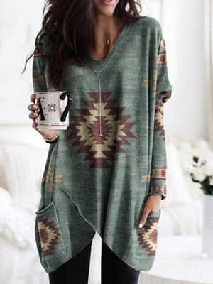 2021 Autumn And Winter New Product Western Ethnic Style Print All-Match Mid-Length Sweater Hoodies