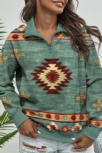 2021 Autumn Women Clothing Tops Sweatershirt Indie Folk Print Drawstring Pocket Hoodies