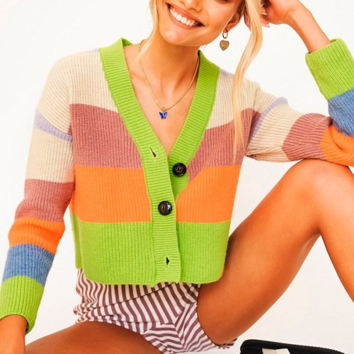 Women Knitted Striped Short Cardigan Sweaters Ladies Cute Coat V Neck Single Breasted Knitwear Sweet Spring Autumn Shawl Sweater