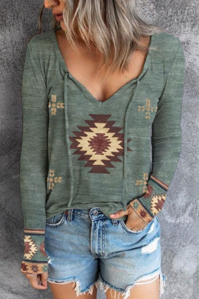 New Western Printed Ethnic Style Long-Sleeved All-Match T-Shirt