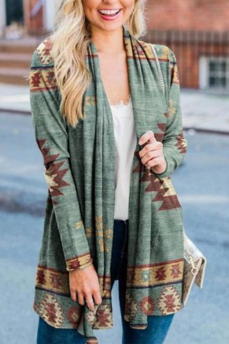 Women New Fashion Aztec Printed Long Sleeved Casual All-match Cardigans Halloween-themed Floral Cardigan