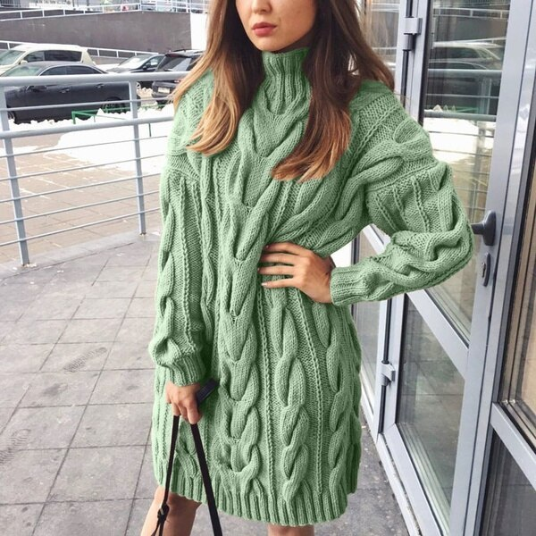 Sweater Dress Women High Colar Long Sleeve Pure Color Knitted Pullover Autumn Winter Casual Oversize Sweaters Female Pullovers