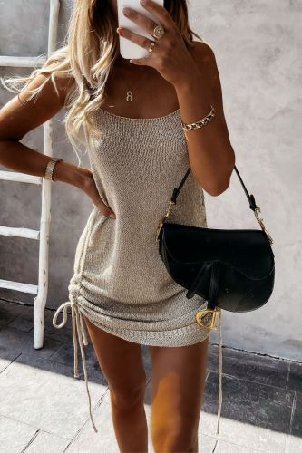 Summer Casual Drawstring Skinny Mini Dress Sexy Backless Spaghetti Strap Sweater Dress for Women Party Summer Dresses