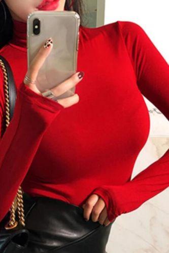 Turtleneck Spring Top Sexy T Shirt Women Elasticity T-Shirt Korean Tee Woman Clothes Slim Tshirt Female Skinny Long Sleeve Tops