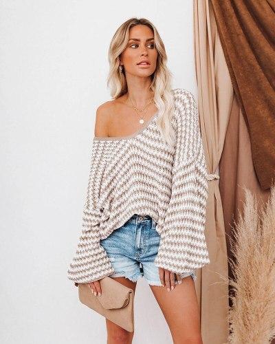 Fitshinling Lantern Sleeve Oversized Sweater Women Striped Loose Boho Jumper Knitwear Fashion Tops Autumn Winter Pullover Female