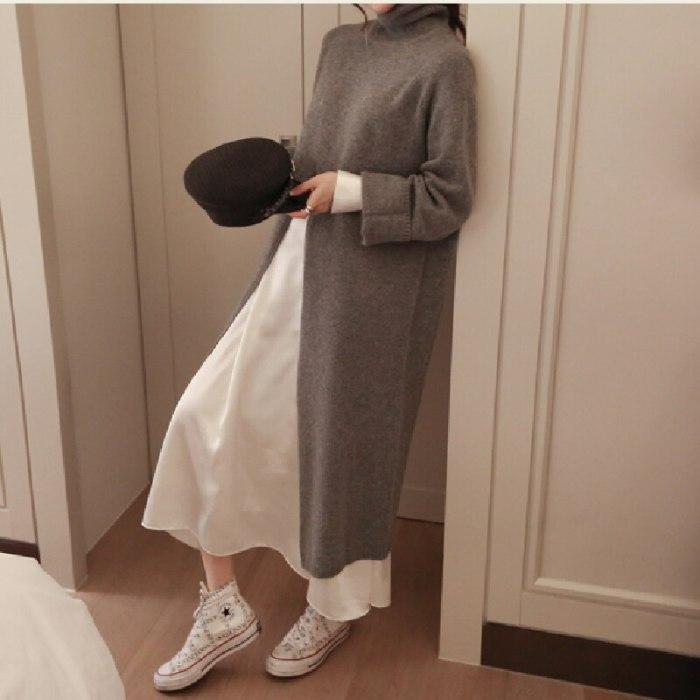 Warm Sweater Women Autumn Dress Winter Long Sweater Knitted Dresses Long loose Maxi Oversize Lady Dresses Bodycon Robe Vestidos