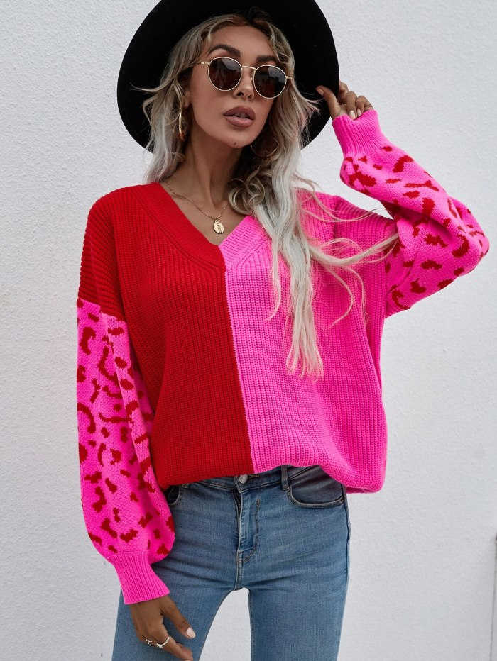 Women Clothing Sexy V-Neck Knitted Leopard Pullover Sweater Y2K 2021 Fall Winter Fashion Loose Oversized Harajuku Vintage Jumper
