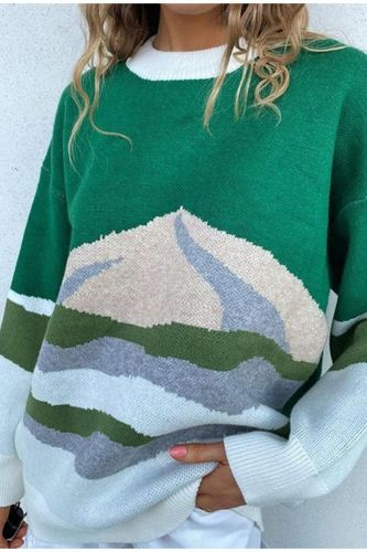 Women Knitted Color Block Loose Sweaters Long Sleeve Preppy Style Sweater Girls Autumn Winter Fashion All-Match Ladies Knitwear