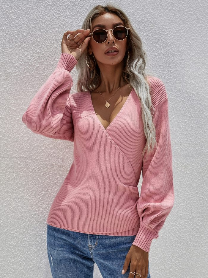 New Autumn And Winter Cross V-neck Solid Color Knitted Sweater Temperament Pullover Loose Sweater Women Long-sleeved Casual