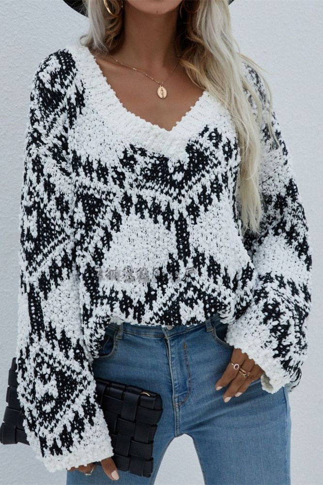 Autumn Winter Fashion New Sweater Women Oversize Pullover Knitted Sweater V-neck Top Floral Print Loose And Soft Temperament