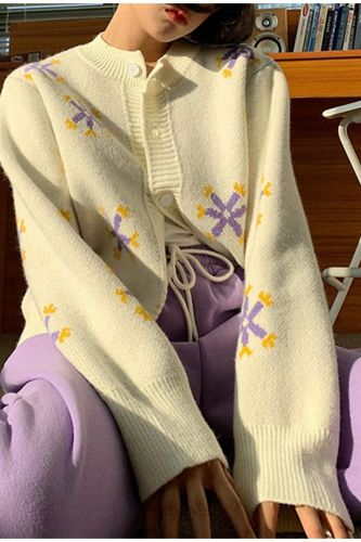 Preppy Style Flower Knit Cardigans Women Sweater V Neck Loose Elegaht Femme Print Short Casual Coat Spring Autumn Sweet Clothing