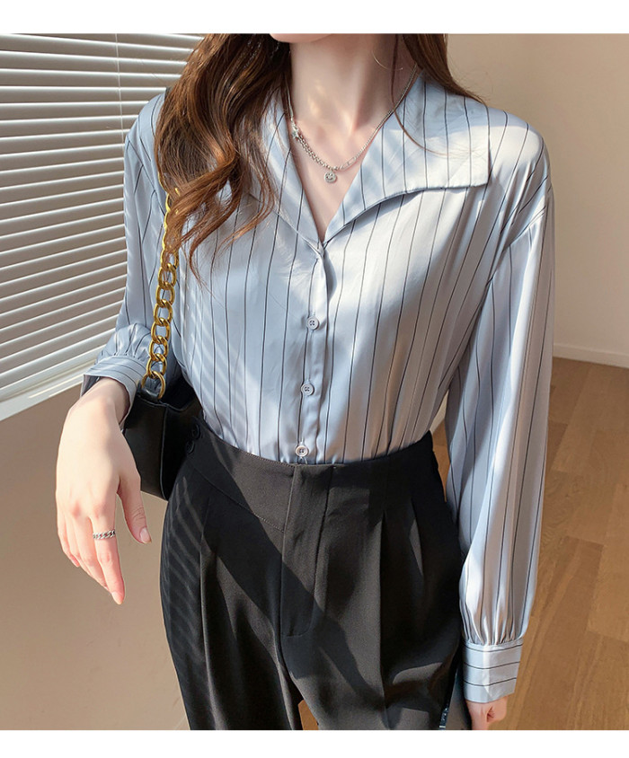 Champagne Striped Shift Long Sleeve Shirts & Tops