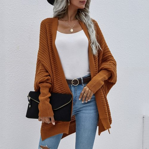 2021 Autumn Winter Fashion Batwing Sleeve Cardiagn Coats Women O Neck Casual Knitted Jackets Solid Color Loose Lazy Sweaters