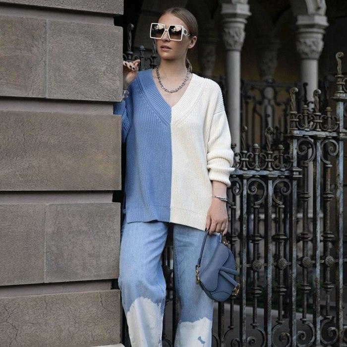 Patchwork V-neck Knitted Women Sweater Khaki Long Sleeve High Split Loose Sweater Ladies Autumn Fashion Streetwear 2021
