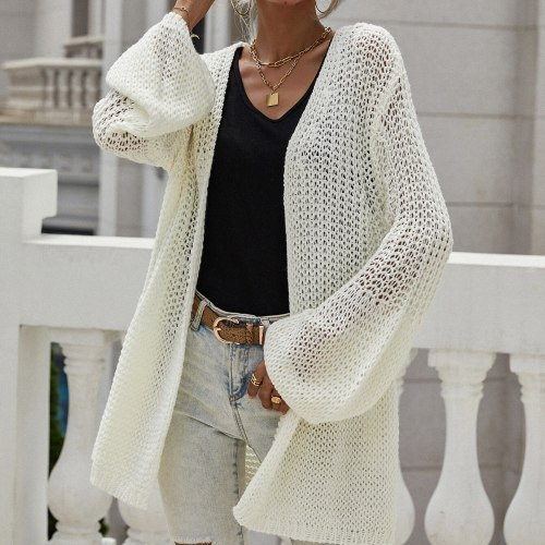 2021 Autumn And Winter Temperament Pure Color Knitted Cardigan Jacket Trumpet Sleeve Sweater Blouse Street Korean Style