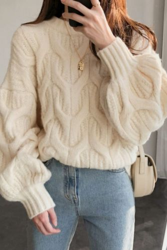 2021 Women Sweater Lantern Sleeve Knitted Pullover Twisted Tops Casual Long Sleeve O Neck Sweater Autumn Winter Korean Style
