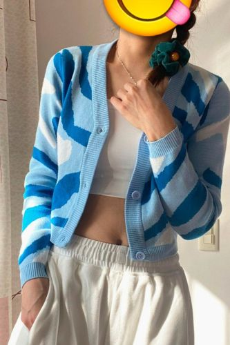 Camouflage Knitted Cardigan Sweater Women V-neck Single-Breasted Fashion Water Ripple Cropped Short Jacket Sweet Ladies Clothing